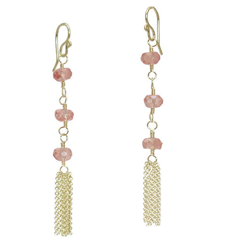 Gemstone Earrings Cherry Quartz Rondelles 14K Gold Filled Sterling Silver Chain Tassels Made USA - Omni Gift Shop
