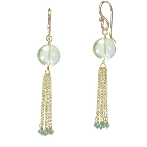 Gemstone Earrings Green Amethyst Apatite Chain Tassel 14K Gold Filled Sterling Handmade in USA - Omni Gift Shop