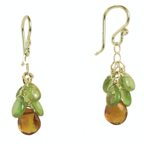 Handcrafted Gemstone Earrings Cluster Peridot Mandarin Garnet 14K Gold Filled Sterling Silver - Omni Gift Shop