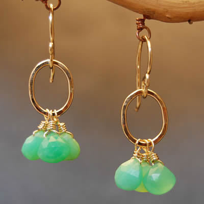 "Handcrafted Gemstone Earrings Chrysoprase Stones on 14K Gold Filled Circles 1"" Long Made in USA - Omni Gift Shop"