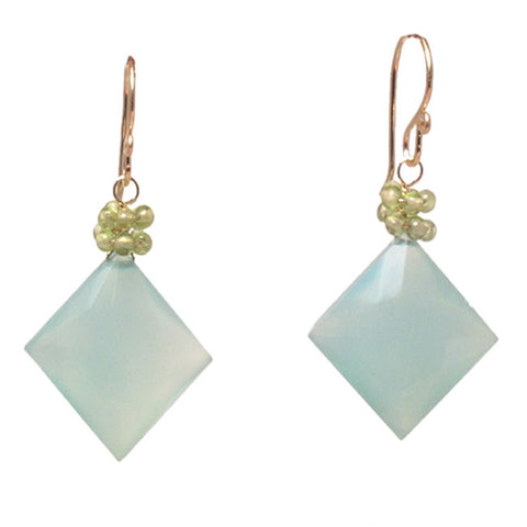 "Gemstone Earrings Peridot Sea Blue Chalcedony 14K Gold Filled Sterling 1-1/2"" Long Made in USA - Omni Gift Shop"