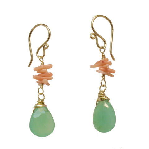 "Gemstone Earrings Pink Coral Chrysoprase Carnelian 14K Gold Filled Sterling 1-1/2"" Long Made in USA - Omni Gift Shop"