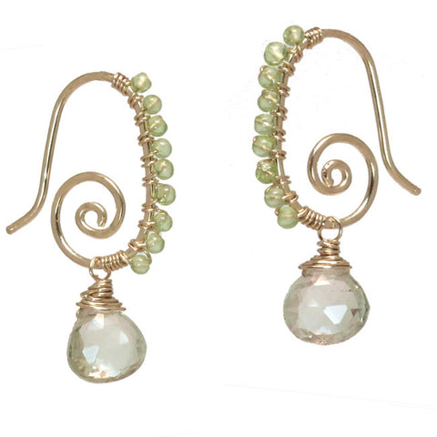 Gemstone Earrings Hammered 14K Gold FIlled Sterling Spirals Peridot Green Amethyst Made in USA - Omni Gift Shop