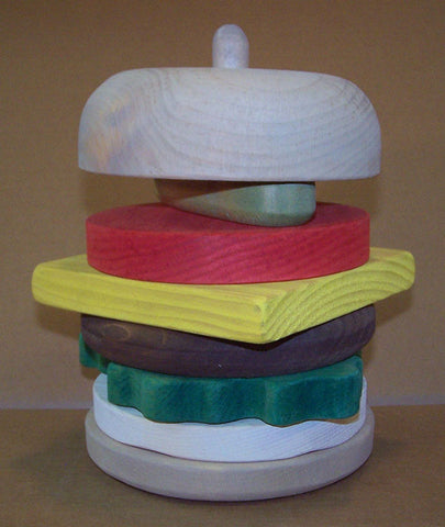 Wooden Educational Stack Toy Hamburger Safe Non-Toxic Pine Made in USA - Omni Gift Shop