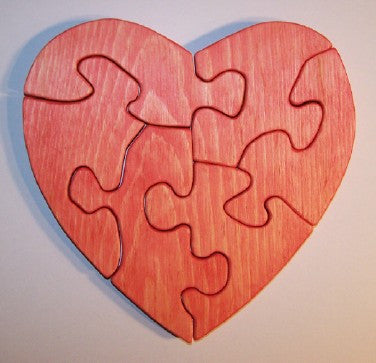 Wooden Large Heart Educational Jig-Saw Puzzle White Pine Handcrafted in the USA - Omni Gift Shop