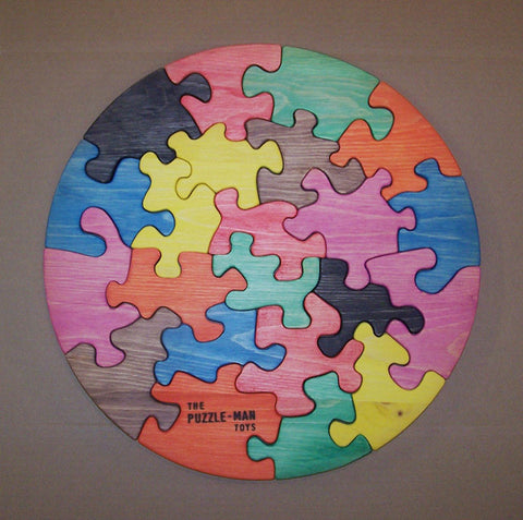"Wooden Educational Jig Saw Puzzle 18"" Circle Multicolor White Pine Non-Toxic Made in USA - Omni Gift Shop"