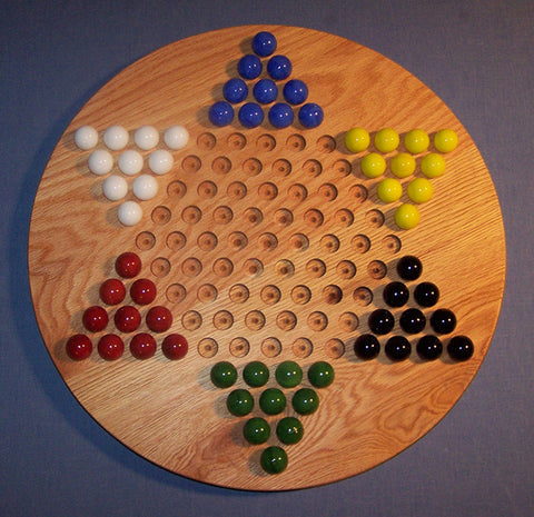 "Chinese Checkers Wooden Marble Game Board Red Oak 18"" Circle Handcrafted in USA - Omni Gift Shop"