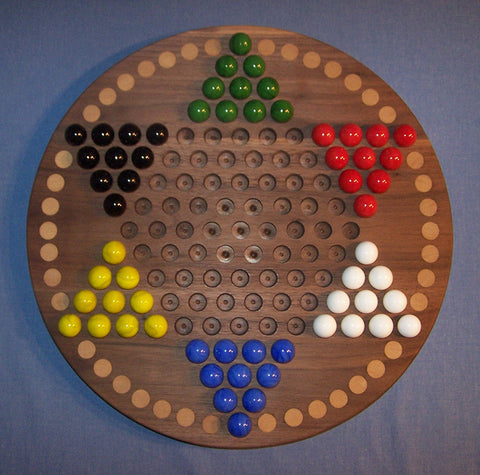 "Wooden Marble Game Board Chinese Checkers 18"" Circle Black Walnut Birch Inlaid Spots Made USA - Omni Gift Shop"