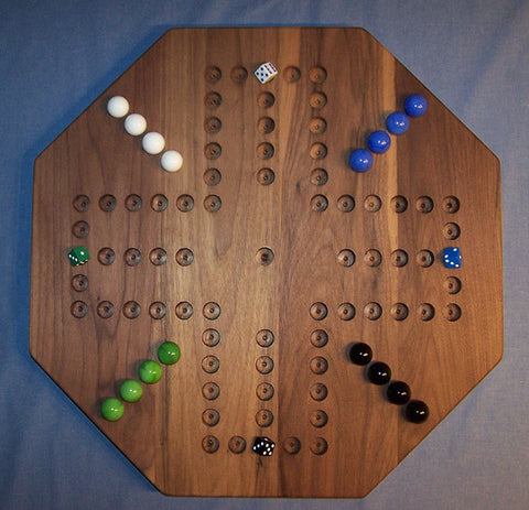 "Wooden Marble Game Board Aggravation 20"" Octagon Walnut 2-4 Players Made in USA - Omni Gift Shop"