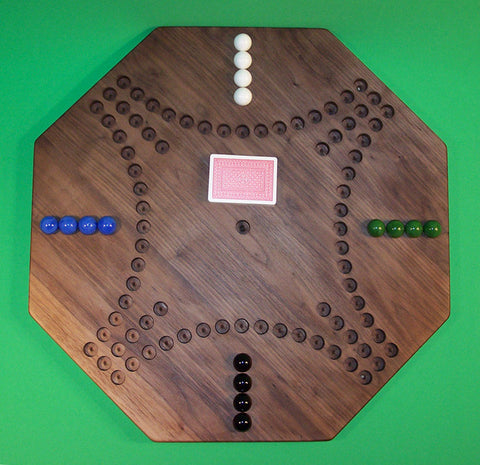 "Wooden Marble Game Board Aggravation 22"" Octagon 4-Player Black Walnut Made in USA - Omni Gift Shop"