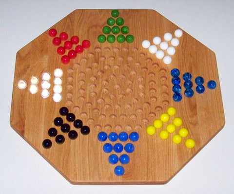 "Wooden Marble Game Board Chinese Checkers 8-Player 22"" Octagon Red Oak Handmade in USA - Omni Gift Shop"