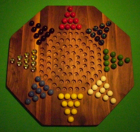 "Wooden Marble Game Board Chinese Checkers 8-Player 22"" Octagon Walnut Handmade in USA - Omni Gift Shop"