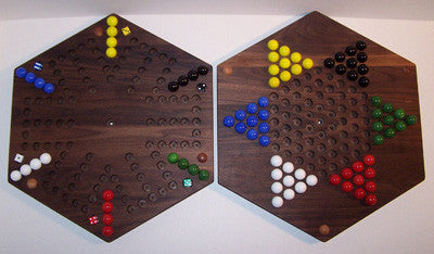 "Wooden Marble 2-Sided Game Board Aggravation Chinese Checkers 18"" Hexagon Walnut Made in USA - Omni Gift Shop"
