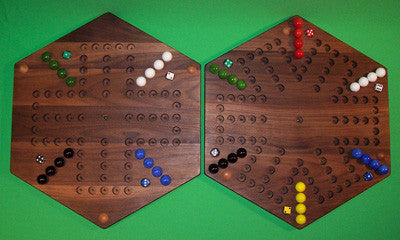 "Wooden Marble Game Board 2-Sided Aggravation 6-Player 4-Player 18"" Hexagon Walnut Made in USA - Omni Gift Shop"