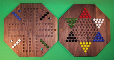 "Wooden Marble 2-Sided Game Board Aggravation Chinese Checkers 20"" Octagon Walnut - Omni Gift Shop"