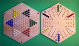 "Wooden Marble 2-Sided Game Board Aggravation Chinese Checkers 20"" Hexagon Maple Made in USA - Omni Gift Shop"