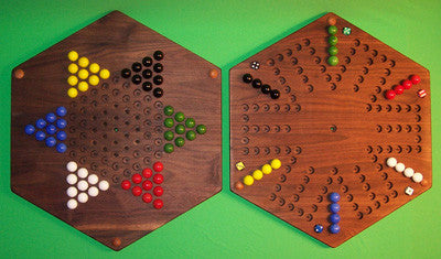"Wooden 2-Sided Game Board Aggravation Chinese Checkers 20"" Hexagon Handmade in USA - Omni Gift Shop"