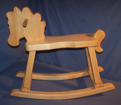 Wooden Rocking Horse Brown Stained Safe Sturdy Non-Toxic Made in USA - Omni Gift Shop