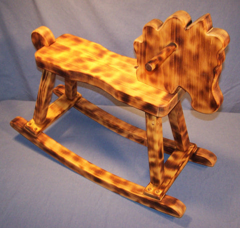 WOODEN ROCKING HORSE (W 2202) RUSTIC BURNT AND OILED Ponderosa White Pine  Safe, Sturdy, Durable, Non Toxic