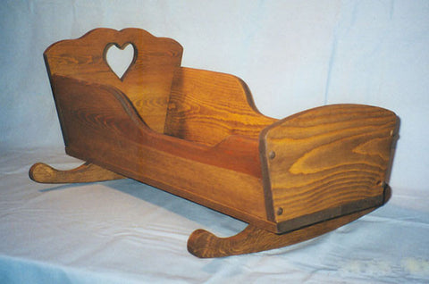 "Wooden Play Furniture Child's Doll Cradle White Pine 10"" x 25"" Handmade in USA - Omni Gift Shop"