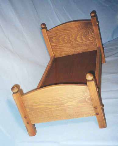 "Wooden Doll Bed Post Style White Pine Medium 12"" x 26"" Handcrafted in USA - Omni Gift Shop"