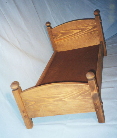"Wooden Doll Bed Post Style White Pine Large 14"" x 32"" Handcrafted in USA - Omni Gift Shop"