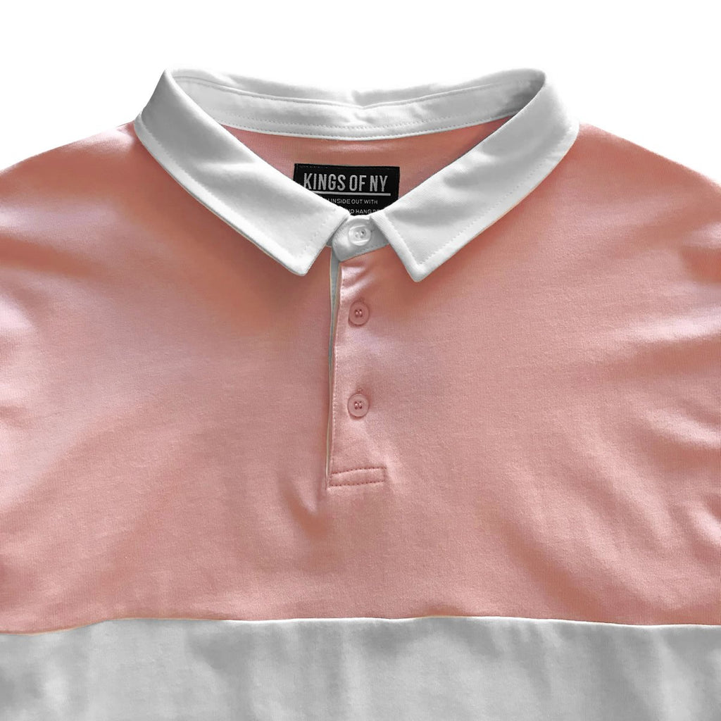 Men's Dusty Pink Long Sleeve Striped Polo Rugby Shirt