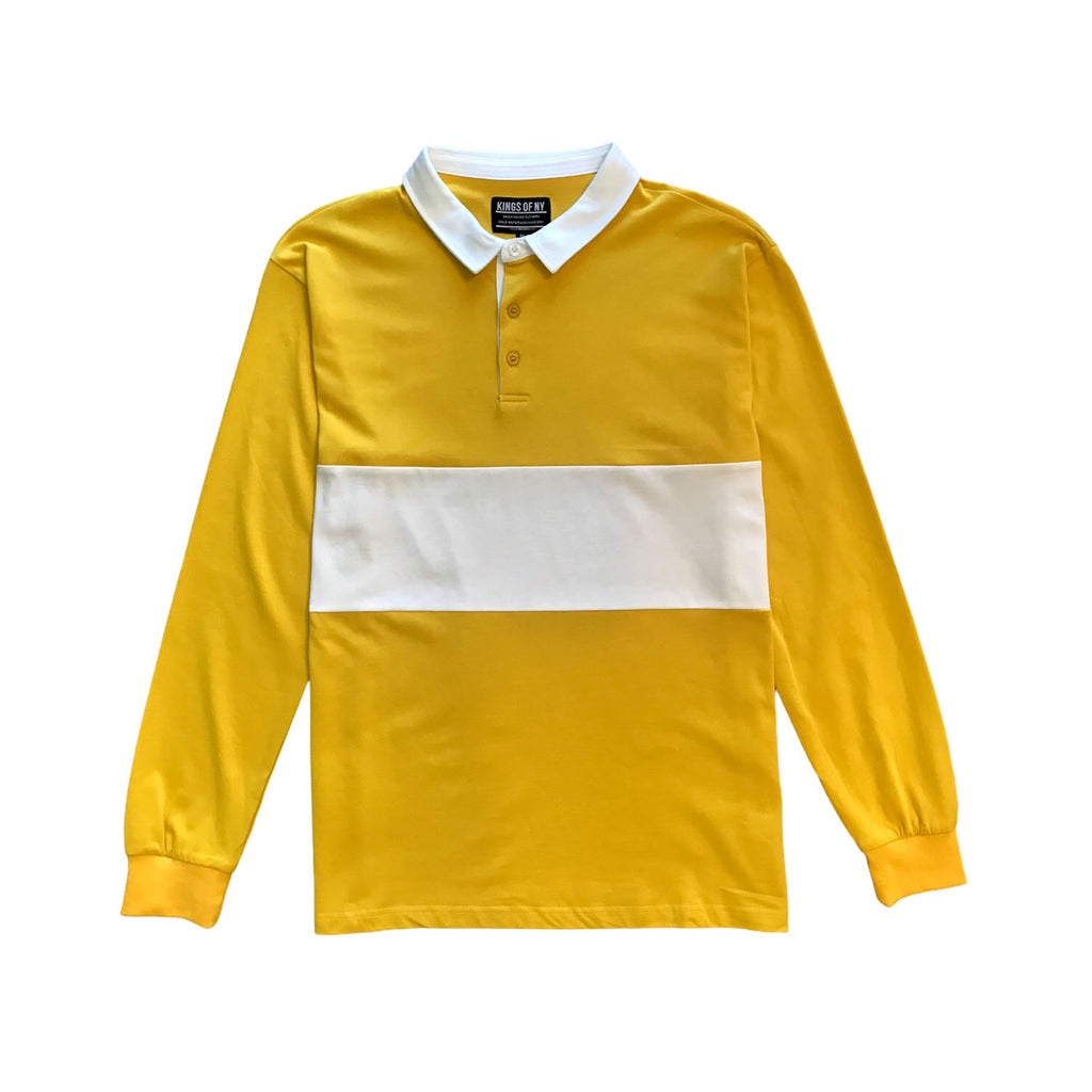 Yellow And White Striped Rugby Shirt