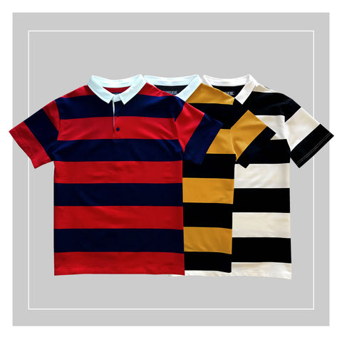 Men's Short Sleeve Striped Rugby Shirts