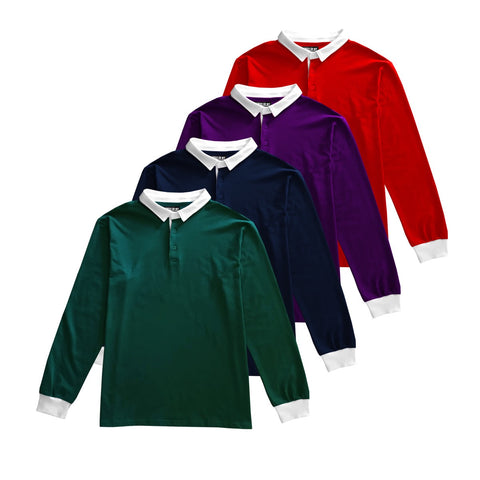 Sold Color Polo Long Sleeve Rugby Shirts