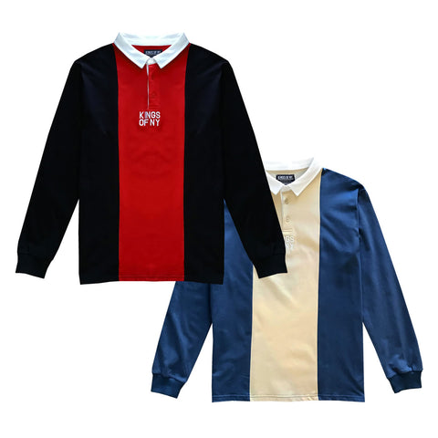 Vertical Striped Long Sleeve Polo Rugby Shirts