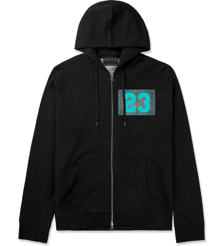 23 Cement Blue Jersey Zip Up Hoodie in Black By Kings Of NY