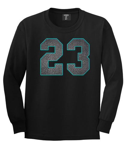 23 Cement Blue Jersey Long Sleeve T-Shirt in Black By Kings Of NY
