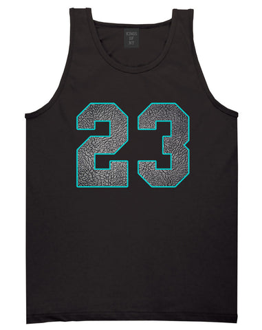 23 Cement Blue Jersey Tank Top in Black By Kings Of NY