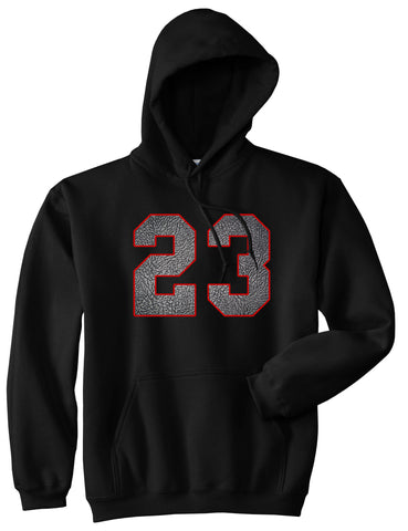 23 Cement Red Jersey Pullover Hoodie in Black By Kings Of NY
