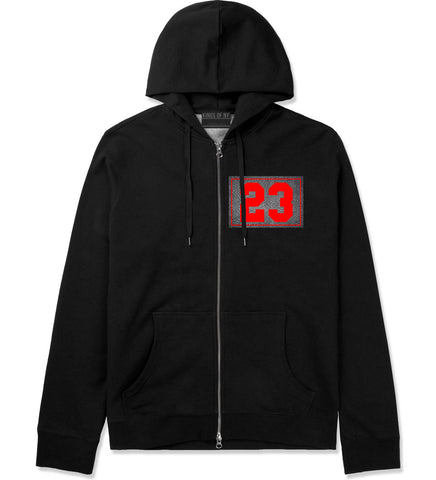 23 Cement Red Jersey Zip Up Hoodie in Black By Kings Of NY