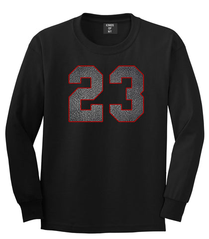 23 Cement Red Jersey Long Sleeve T-Shirt in Black By Kings Of NY