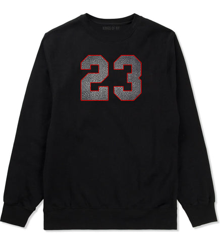 23 Cement Red Jersey Crewneck Sweatshirt in Black By Kings Of NY