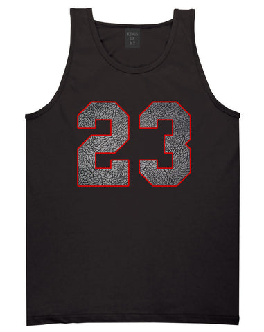 23 Cement Red Jersey Tank Top in Black By Kings Of NY