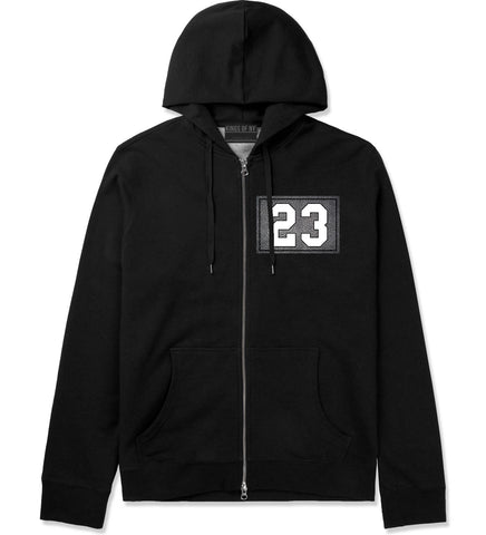 23 Cement Jersey Zip Up Hoodie in Black By Kings Of NY