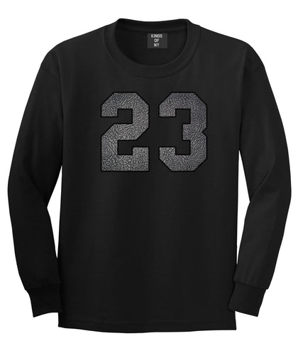 23 Cement Jersey Long Sleeve T-Shirt in Black By Kings Of NY