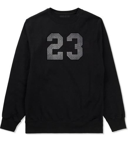 23 Cement Jersey Crewneck Sweatshirt in Black By Kings Of NY