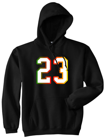 23 Cement Print Colorful Jersey Pullover Hoodie in Black By Kings Of NY