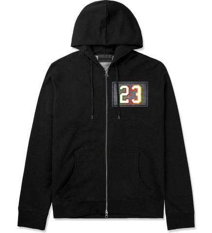 23 Cement Print Colorful Jersey Zip Up Hoodie in Black By Kings Of NY