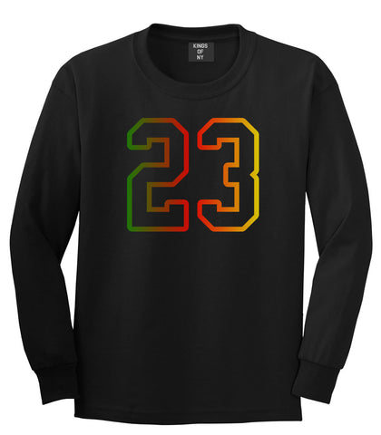 23 Cement Print Colorful Jersey Long Sleeve T-Shirt in Black By Kings Of NY