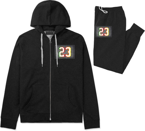 23 Cement Print Colorful Jersey Premium Sweatsuit in Black By Kings Of NY