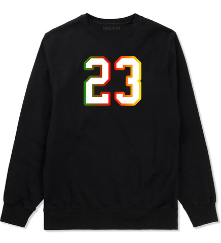 23 Cement Print Colorful Jersey Crewneck Sweatshirt in Black By Kings Of NY