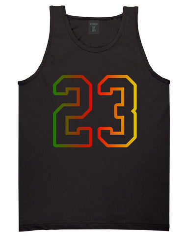 23 Cement Print Colorful Jersey Tank Top in Black By Kings Of NY