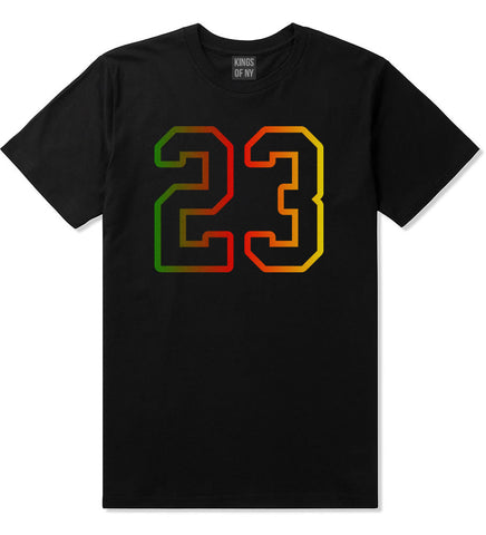 23 Cement Print Colorful Jersey T-Shirt in Black By Kings Of NY