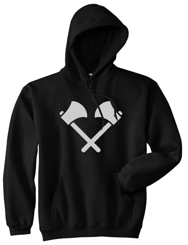 2 Ax Fireman Logo Black Pullover Hoodie by Kings Of NY